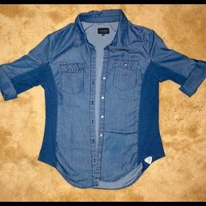 Light, jean button-down, short sleeve shirt